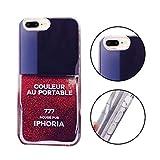 iPhone 8 Plus Hüllen, MingKun TPU Soft Muster Transparent Bling Glitzer Schutzhülle für iPhone 7 Plus / 8 Plus Dynamisch Parfüm Silikon Case Cover - Nagellack Rot