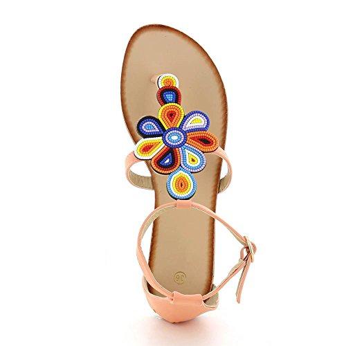 Go Mode - Sandali piatti un fiori multicolor - Donna Rosa (rosa)