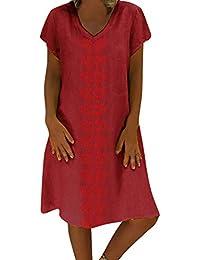18317999df Women Summer Style Cotton and Linen Casual Dress - Feminino Vestido V-Neck  Short Sleeve