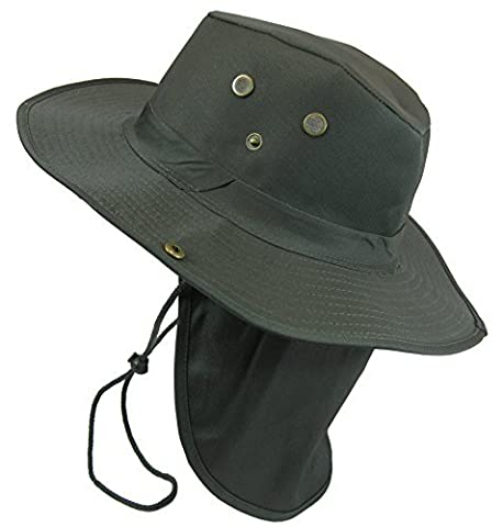 Boonie Bush Safari Outdoor Fishing Hiking Hunting Boating Snap Brim Hat Sun Cap with Neck Flap (Olive Drab, L) by S And W