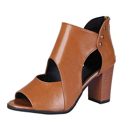 Scarpe moda da donna, sonnena stivali da donna con cerniera a bocca cava col tacco alto single shoes sandali con tacco alto da donna stivali corti in pelle scarpe singole
