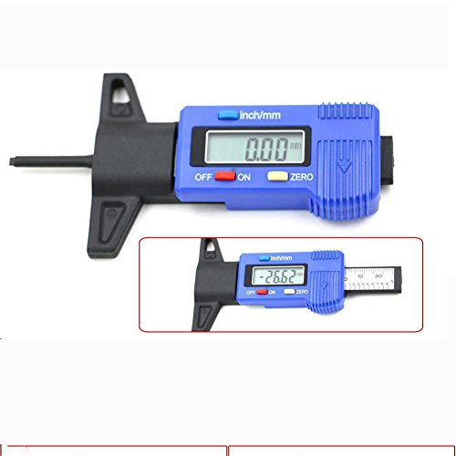 kingnew Auto Rad Reifen Lauffläche, Tiefenmesser Digital Meter Messgerät Gauge Werkzeug 0–25mm (blau)