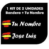 Pegatina Vinilo Bandera España + tu Nombre - Bici, Casco, Pala De Padel, Monopatin, Coche, Moto, etc. Kit de Dos Vinilos (Blanco)