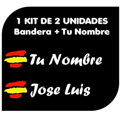 Pegatina Vinilo Bandera España + tu Nombre - Bici