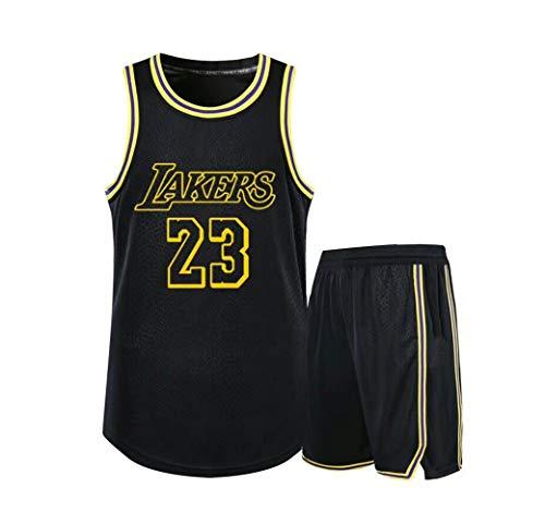 Verwendet für Nr. 23 Lebron James Fans Los Angeles Lakers Jungen Mädchen Basketball Trikotsets Wettkampfuniformen Sommerweste Shirt + Shorts Zweiteiliges Set-Black-S