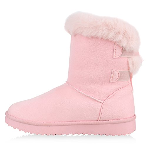 Damen Schuhe Schlupfstiefel Warm gefüttert Rosa Rosa