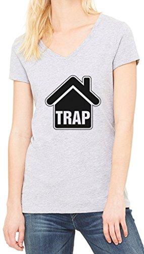 Trap House Women's V-Neck T-shirt Gris