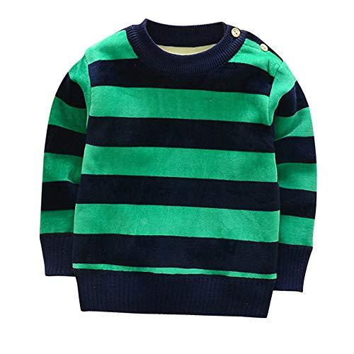 feiXIANG Jungen Mädchen Kind Streifen Baby Kleinkind Tops T-Shirt Blusen Langarm Warm kostüm O-Neck Blusen(Grün,80/8)
