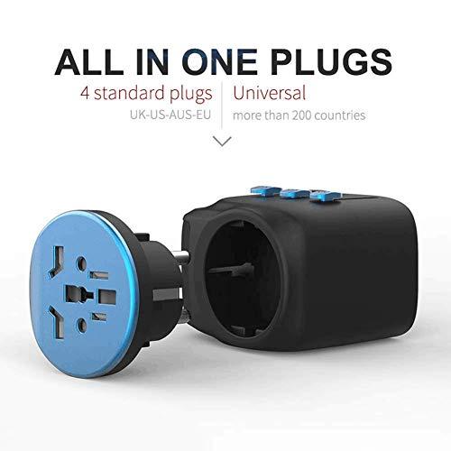 Universal Reiseadapter Reisestecker, 2 USB Ports International Ladegerät, AC Steckdose Stromadapter mit selbstrückstellender Sicherung für Weltweit Reisen in US/UK/EU/AU über 150 Ländern (Blau)