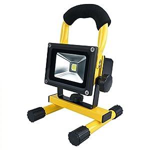 MCTECH 10W blanco cálido amarillo lámpara de mano BATERÍA LED proyector de luz de trabajo de iluminación linterna IP65
