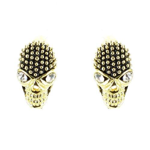 Schwarz und Klar Kristall auf Gold plattiert Ohrringe Totenkopf - Prominente Für Halloween-kostüme