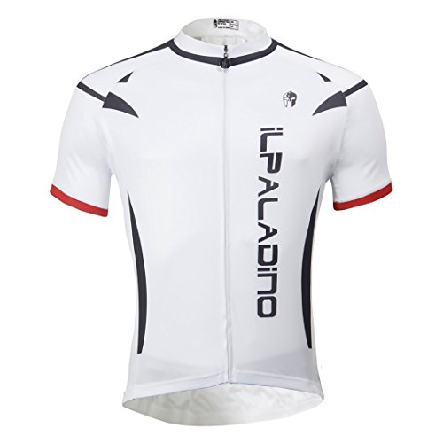 1b0c9ec74 White Men s Short Sleeve Cycling Jersey Full Zip Moisture Wicking Breathable  Running Top Quick Dry Outdoors
