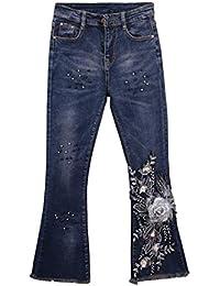 119f7305ae0c1 Successg Nouveau Automne Mode Broderie Jeans Maigre Femmes Sexy Perles Fleur  Flare Pants Perler Slim Élastique