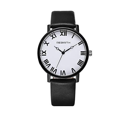 LANTA Home Stilvolle Paar-Uhr für Frauen mit römischen Ziffern Schwarze Lederuhr Lässige gediegene Quarzuhr