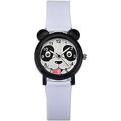 ZEIGER Kinderuhr Weiß Mädchen Jungen Armbanduhr süß Panda Analog Quarz Uhren KW068