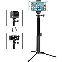 GHB Foneso Selfies Stick con Bluetooth inalámbrico disparador remoto trípode ajustable para Smartphone y Gopro cámara negro