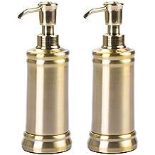 mDesign Juego de 2 dispensadores de jabón de metal – Elegantes  dosificadores de jabón con 237 41c12b189585
