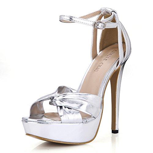 CHMILE CHAU-Scarpe da Donna-Sandali Tacco Alto a Spillo-Nuziale-Sposa-Eleganti-Moda-Partito-Cinturino alla Caviglia-Piattaforma 3cm