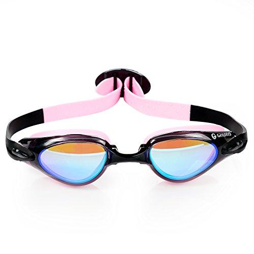 Schwimmbrille Leicht Anpassbare Uv Schutzbrille mit Ohrenstöpsel Keine Undichten Stellen Bannfarbe Schwimmbrille Komfortabel Für Jugendliche Kinder Männer Frauen - Schwarz & Pink -