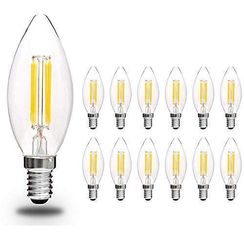 Svater 12 Pack LED Kerze Glühlampe E14 C35 2700k Warmweisse Led Lampen Kerzenform 4W Kleine Edison Schrauben Filament Candelabra LED Brine Ersetzt 40W Glühlampe 360°Abstrahlwinkel, Nicht Dimmbar -