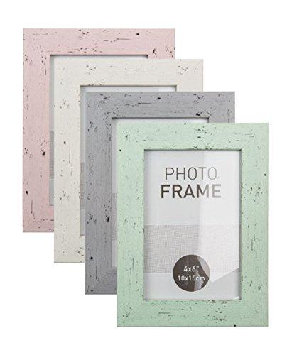 Bilderrahmen Fotorahmen Kunststoff Rahmen in Holz vintage Optik für Bildformat 10 x 15 cm 1 Stück, Farbe:Grau
