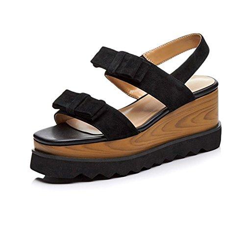 KJJDE Plateauschuhe Damen Creepers Schuhe WSXY-L0405 Kreatives Bogenzubehör Damenschuhe Sandalen Sandaletten Keilabsatz Schuhe, Schwarz, 40