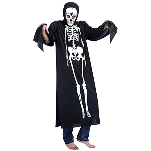 Petalum Herren Hallowenn Schädel Umhang Poncho Kapuzen mit Totenkopf Maske Kostüm für Erwachsene Karneval Fasching Cosplay