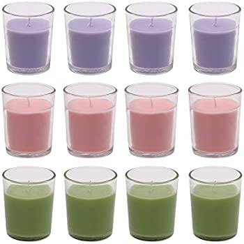 Amazon Brand - Solimo Votive Glass Candles, Pack of 12 (Scented - Lavender, Lemon Grass & Rose)