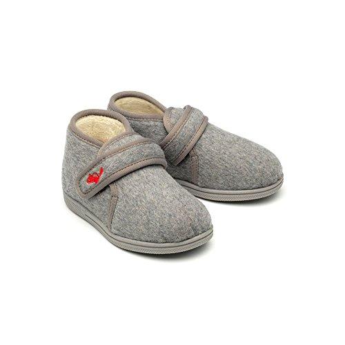 Stofftiere Isaac–Grau Touch und Schließen Slipper Stiefel *