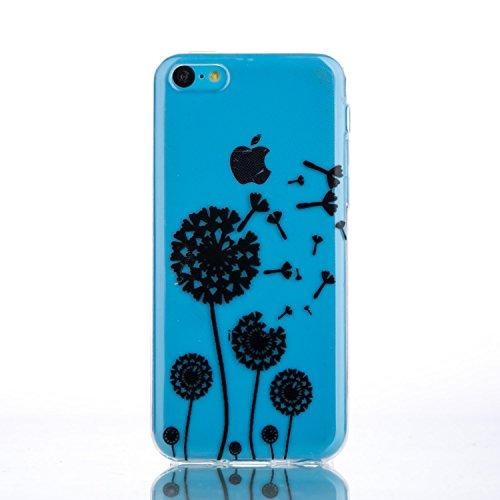 CaseHome iPhone 5C Durchsichtig Silikon TPU Hülle Elegantes Stilvoll Hübsches Muster Druckte Entwurf (Mit freiem HD Schirm-Schutz) Gummi Silikongel Retro Klassiker Stoßstange Weicher Stoßdämpfer-ultra Löwenzahn