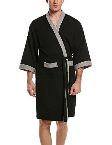 HOTOUCH Herren Bademantel Morgenmantel Nachtwäsche Kimono Saunamantel mit Taschen und Bindegürtel aus Baumwolle