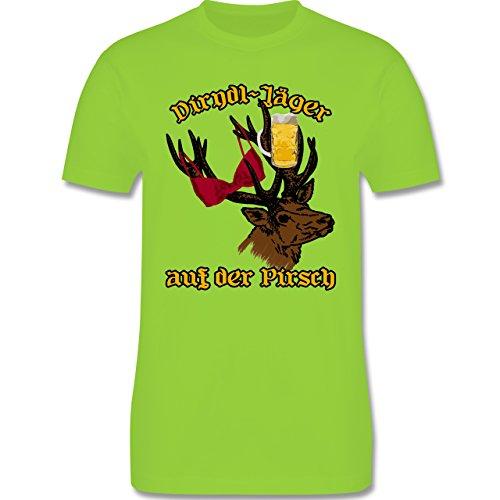 Oktoberfest Herren - Dirndl-Jäger auf der Pirsch - Herren Premium T-Shirt Hellgrün