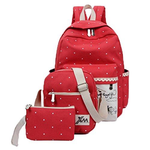 Ohmais 3PCS Rücksack Rucksäcke Rucksack Backpack Daypack Schulranzen Schulrucksack Wanderrucksack Schultasche Rucksack für Schülerin rot