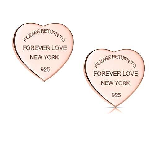 Orecchini a forma di cuore 'Forever Love' in acciaio al titanio e Acciaio inossidabile, colore: Rose Gold, cod. ForeverLoveEarringsRoseGold
