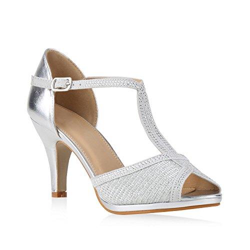 Damen Riemchensandaletten Sandaletten Stilettos High Heels Abiball Hochzeit Braut Schuhe 133825 Silber Steinchen Carlton 38 Flandell