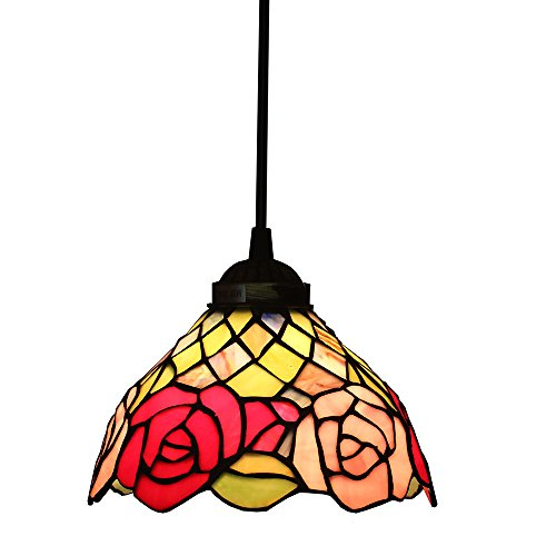Tiffany Style Pendelleuchten, ZYF Beleuchtung Titania Antik Und Jeweled Uplighter Rose Flower Design Deckenleuchte Anhänger Glasmalerei Schatten, 22 * 30Cm (Tiffany Blumen-art-glas)