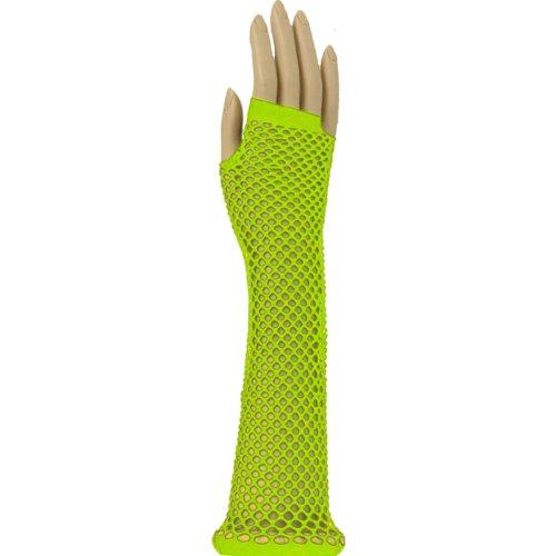 Runway Splash - Damen Frauen Lange Fingerlose Kostüm 1980er Neon Fischernetz Handschuhe - Einheitsgröße, Neon (Handschuhe Lange Grüne)