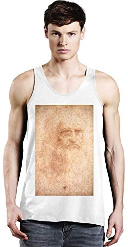 Top Paintings of All Time Leonardo da Vinci - Portrait of a Man in Red Chalk Painting Unisex Tank Top T-Shirt Men Women Stylish Fashion Fit Custom Apparel by X-Large -