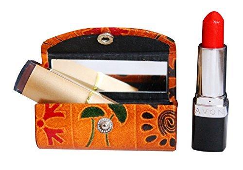 The storeking porta rossetto custodia in cuoio–borsa organizer per purse- lipstick holder- durevole in morbida pelle–cosmetici storage kit con specchio (marrone con design)
