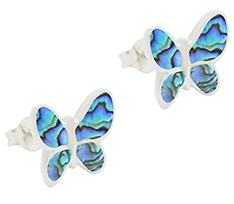 DTPsilver -Damen - Ohrringe 925 Sterling Silber und Abalone Paua Muschel Schmetterling Ohrstecker