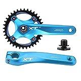 Tbest Juego de Bielas de Bicicleta de Montaña de Carretera, Plato de Bielas Integral Bielas de Manivela de Una Sola Velocidad Aleación de Aluminio Rueda de Cadena de Bicicleta BMX MTB 170 mm(Azul)