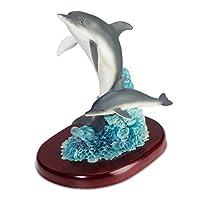 Katerina Prestige-Dolphin with Baby on Wave Figurine, ME1013
