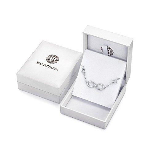 Billie Bijoux Infinity Unendlichkeit Symbol Damen Armband 925 Sterling Silber Zirkonia Armkette Verstellbar Charm Armband für den Muttertag (1- silver)