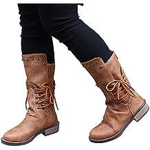 Zapatos Botas de Trabajo,JiaMeng Zapatos de Remaches de tacón Cuadrado Botas de Cremallera de