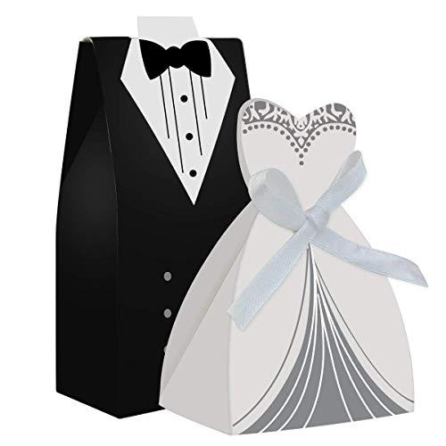 EPRHY Party Hochzeit Gastgeschenk Kleid & Smoking Braut & Großhandel Candy Favor Box Kreative Kleid Candy Schokolade Geschenk-Box Bonbonniere für Geschenk Hochzeit Party Geburtstag Braut-Dekoration