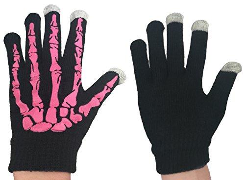 d Bewegung Skelett Handschuhe, LED Licht Blinken Gluehen für Outdoor Halloween Glühen Handschuhe (Touch Screen & NON Fluoreszenz Schwarz / Rosa) ()