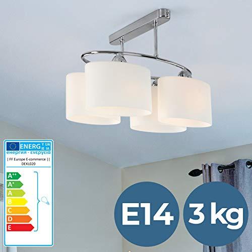 Deckenleuchte - EEK: A++ bis E, 40/21/25 cm, 4 Flammig, Aus Glas und Metal - Deckenlampe, Lüster, Lampe, Kronleuchter, Pendelleuchte für Büro, Wohnzimmer, Schlafzimmer