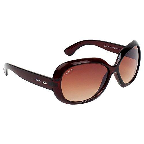 Creature Gaga Oversized Sunglasses For Girls(Lens-Brown||Frame-Brown||SUN-039)