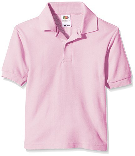 Fruit of the Loom Jungen T-Shirt Pique Polo, Pink (Light Pink), Gr. 5-6 Jahre -