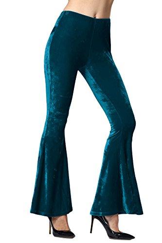 Donna Pantaloni Larghi Eleganti Alta Vita Stretch Tromba Pantaloni Gamba Larga Sciolto Vintage Boot-Cut Lungo A Pieghe Partito Festa Puro Colore Autunno Nverno verde militare